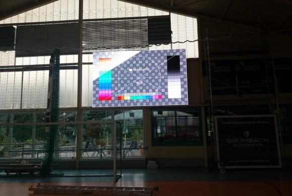 Festinstallation LED Anzeigetafel Ballsporthalle Sandersdorf 2019